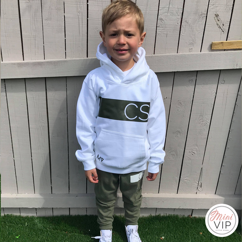 Image of Personalised White hoodie - khaki stripe initials