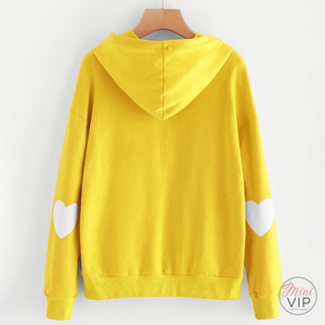 Heart Patch Sleeve Sun Yellow Hoodie