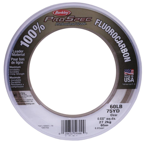 "ProSpec 100% Fluorocarbon Leader Mat - 75 Yards, 0.032"" Diameter, 60 lbs Breaking Strength, Clear"
