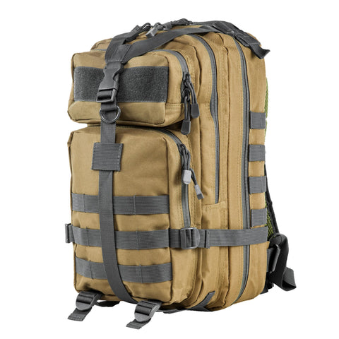 Survival Nerdz - Small Backpack - Tan w-Urban Gray Trim, Backpacks,NcStar