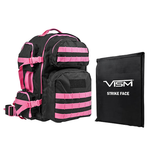 "Survival Nerdz - Tactical Backpack with 10"" x 12"" Square Panels - Black with Pink Trim, Cases & Bags Specialty,NcStar"