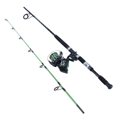 Survival Nerdz - Bite Alert Spinning Combo, 4.9:1 Gear Ratio, 7' 2pc Rod, 17-50 lb Line Rating, Fishing,Zebco / Quantum