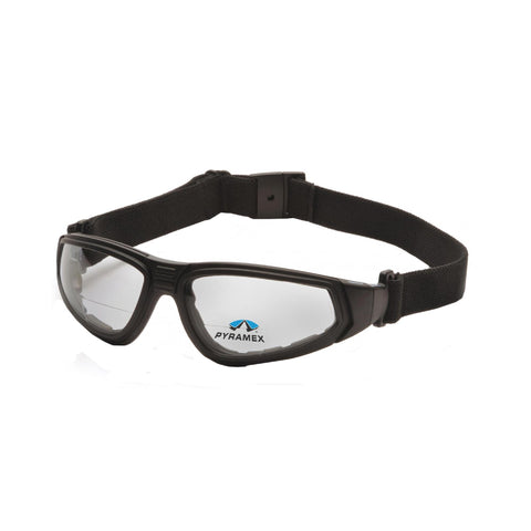 Survival Nerdz - XSG Safety Glasses - Clear Anti-Fog Reader Lens with Black Strap-Temples, +1.5 Magnification, Eyewear,Pyramex Safety Products
