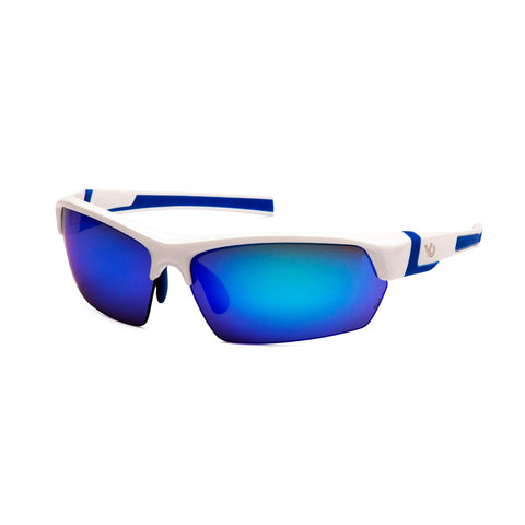 Survival Nerdz - Tensaw Safety Glasses, Ice Blue Mirror Anti-Fog Lens with White-Blue Frame, Eyewear,Pyramex Safety Products