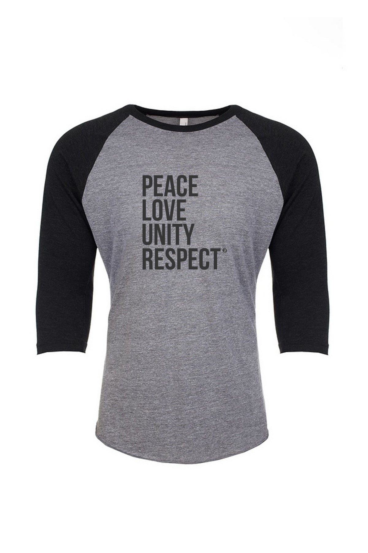 PEACE LOVE UNITY RESPECT BASEBALL T-SHIRT