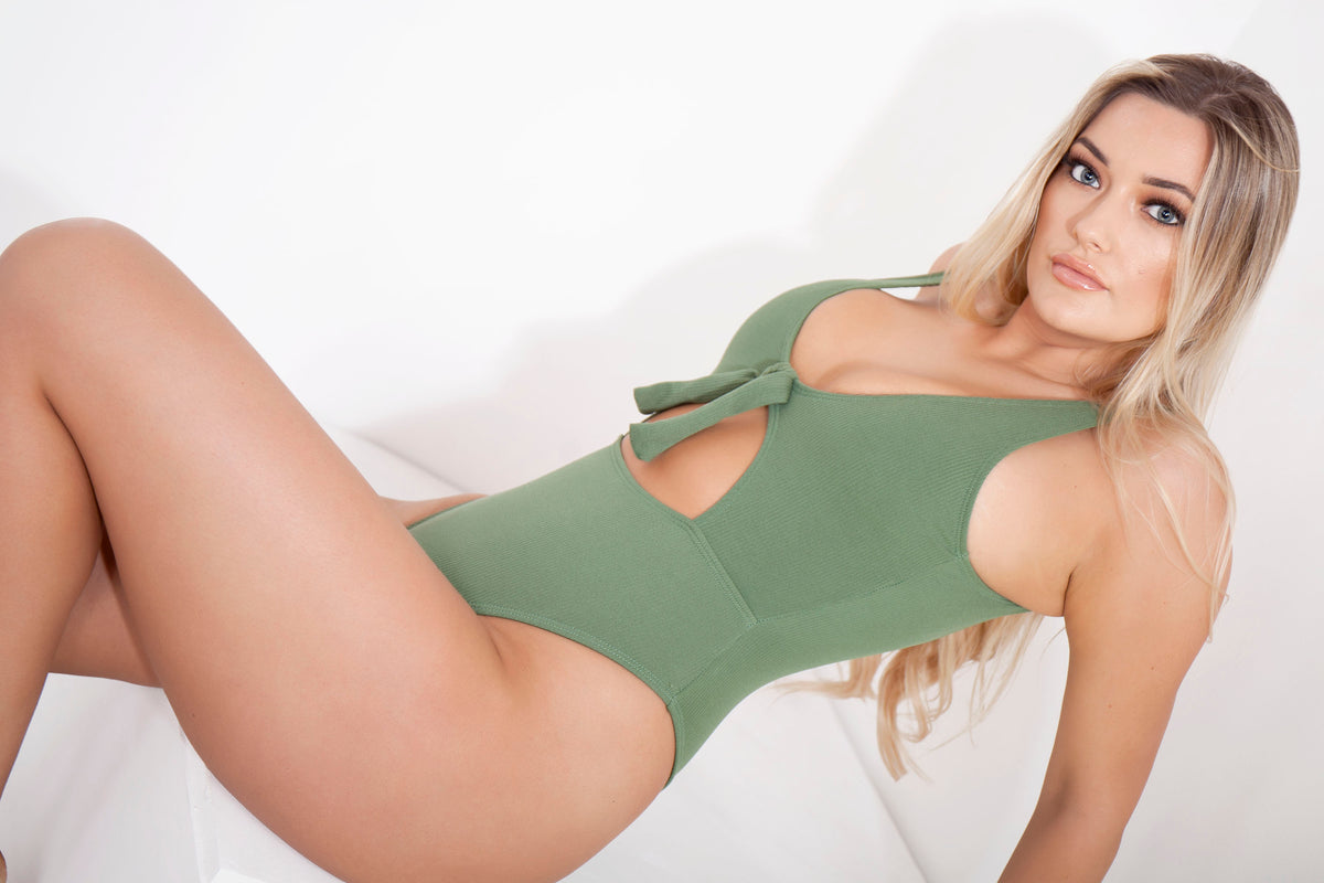 Green High Leg Ribbed Cut Out Swimsuit