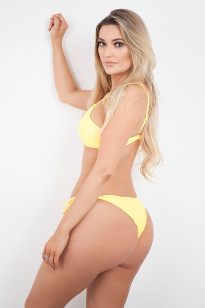 Curves Yellow Twist Bikini