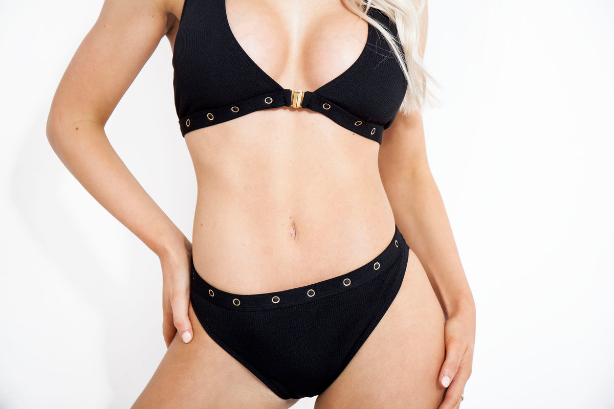 *Limited Edition* Black Gold Ring Linked Bikini
