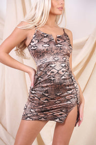 Snakeskin Bodycon Mini Dress