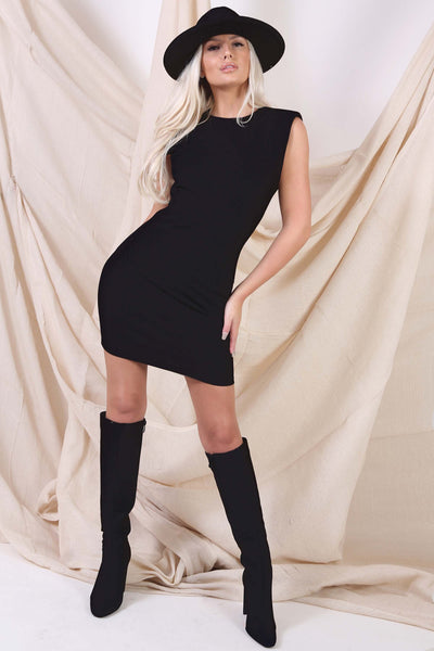 Black Padded mini Shoulder Dress
