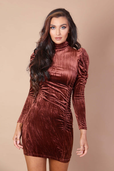 Ruched Velvet Mini Dress