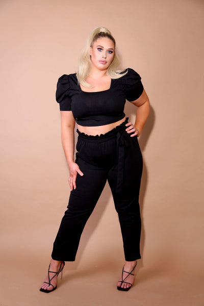 PLUS Black Puffed Sleeve Co-ord