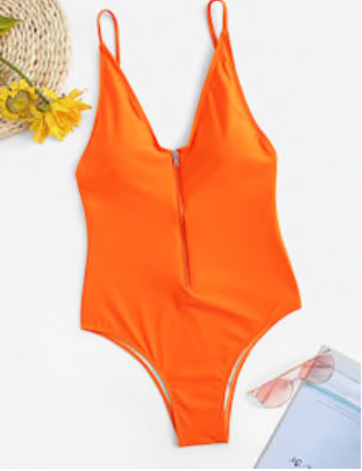 Zip up Orange Swimsuit