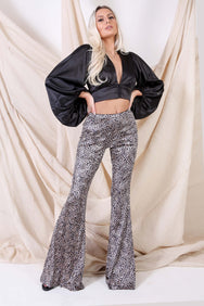 Leopard Velvet Bell Bottoms