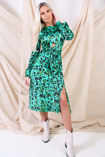Front Tie Print Satin Dress