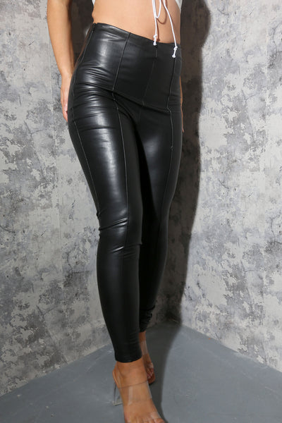 Seamed front Vegan Leather Leggings