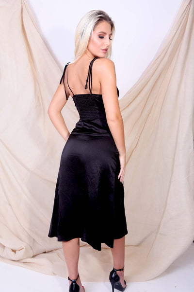 Black Satin Slit Cami Dress