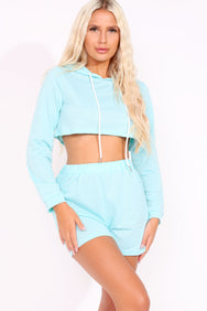 Mint Green Crop Hoodie & Shorts