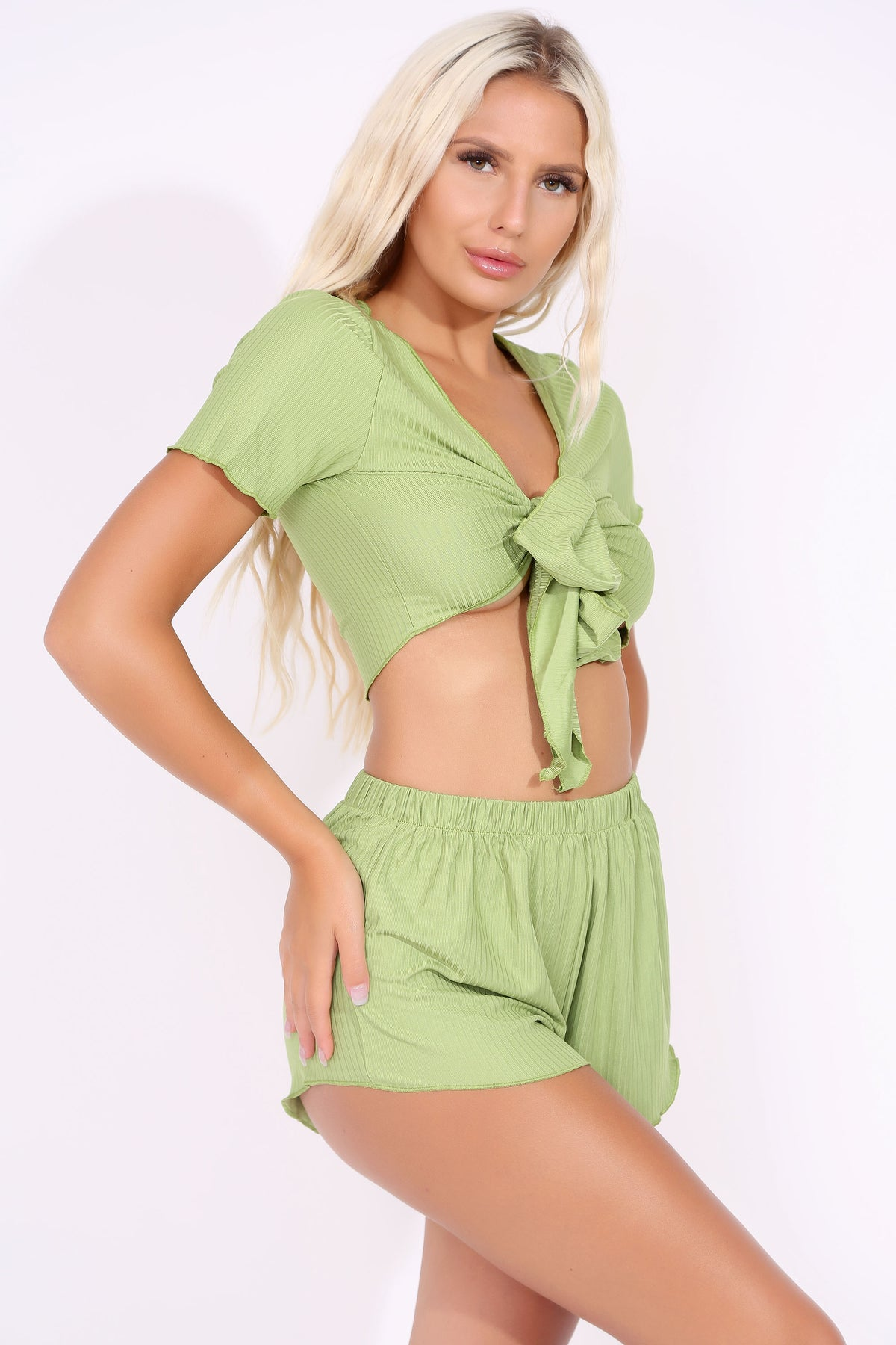 Apple Green Front Bow Crop & Shorts Set