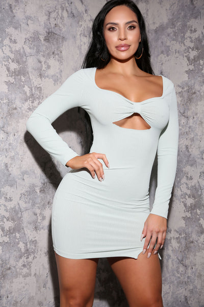 Mint Cut out Rib Dress
