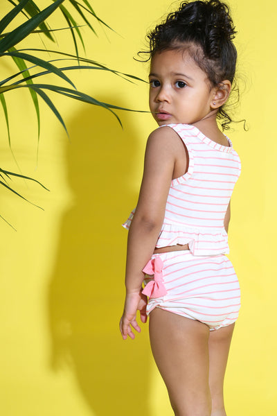 Baby Girl Striped Bandeau Swimwear