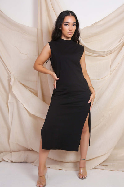 Side Split Black Dress