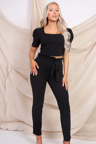 Black Puffed Sleeve Co-ord