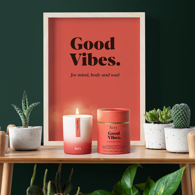Aery Living, Aromatherapy Soy Candle, Good Vibes (200g)