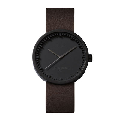 Tube Watch D38 With Brown Leather Strap - Black