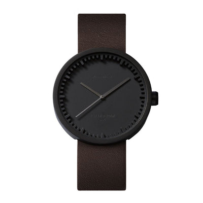 Tube Watch D42 with Brown Leather Strap, Black.