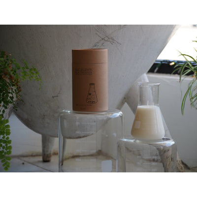 230g CLEAR CONICAL FLASK CANDLE - TOBACCO & FIR