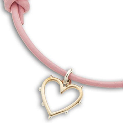 Palas Pink Leather Heart Charm Bracelet