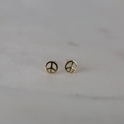 Peace Studs 14kt Gold Plated