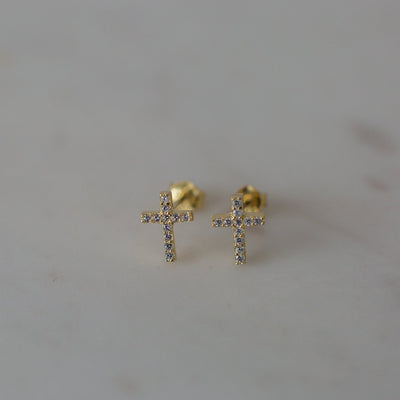 Sparkle Cross Studs Gold Plated