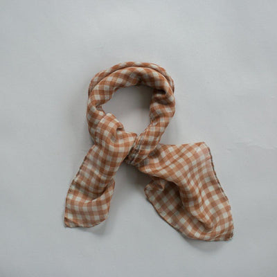 Gingham Mini Scarf - Toffee