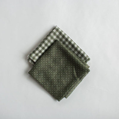 Gingham Mini Scarf - Khaki