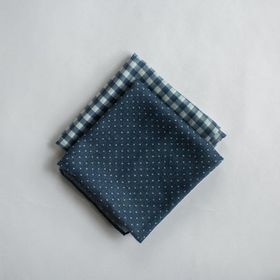 Gingham Mini Scarf - Navy