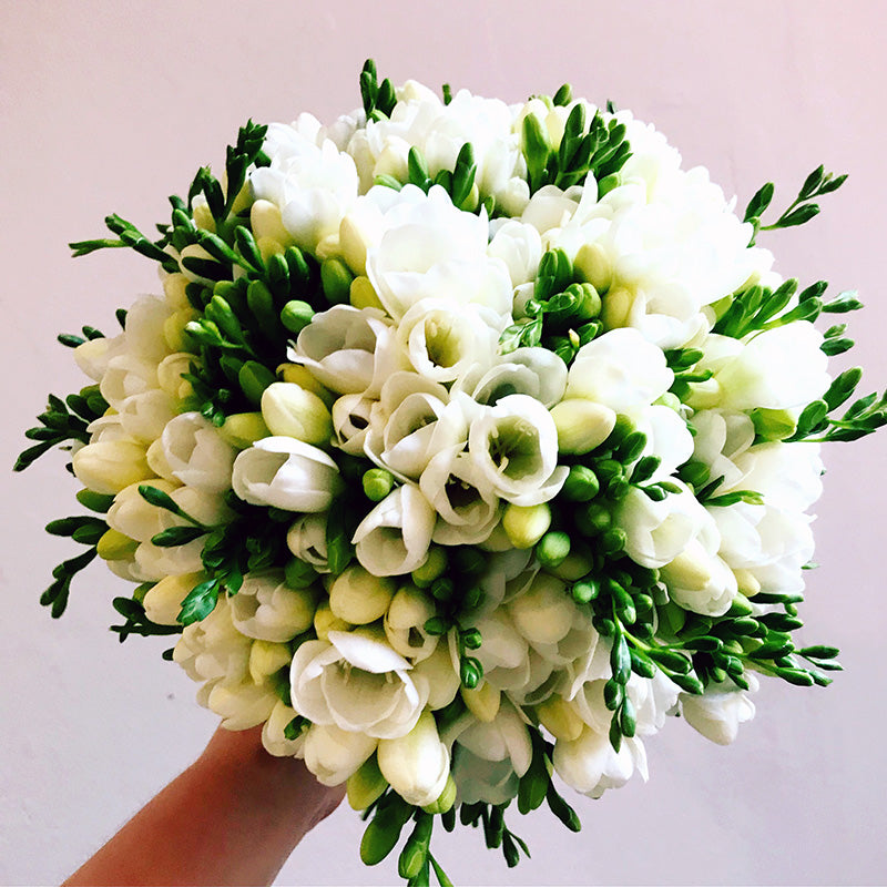 White wedding flowers bridal bouquet being held by hand