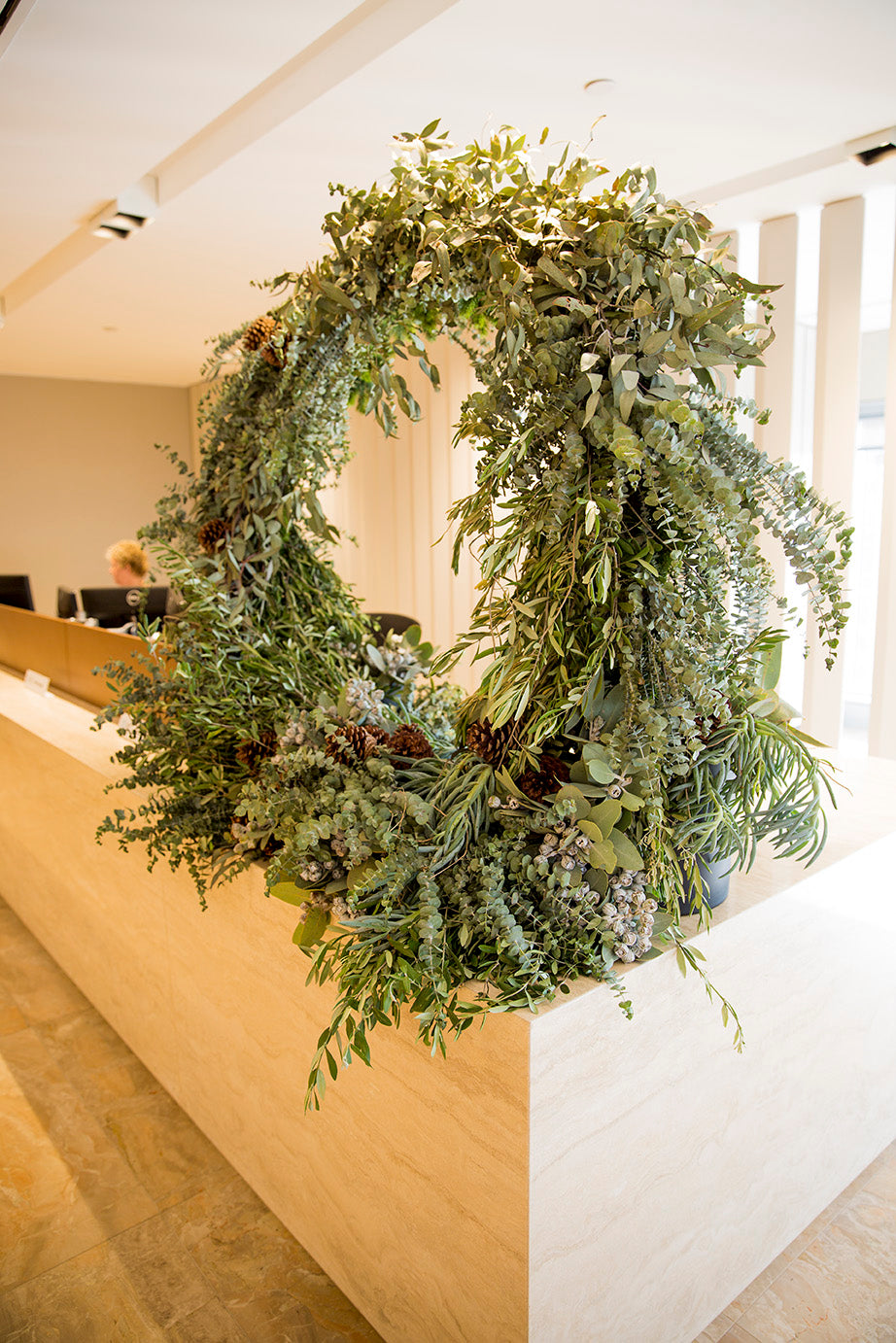 Christmas wreath in corporate reception area