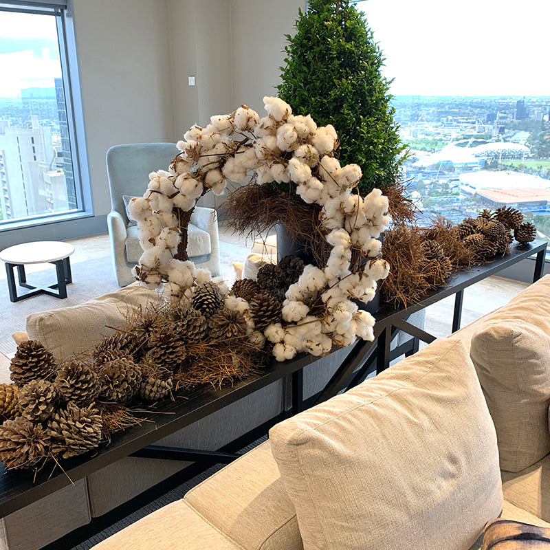 White Christmas wreath in a Melbourne business foyer