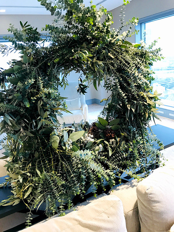 Christmas wreath in Melbourne business lounge