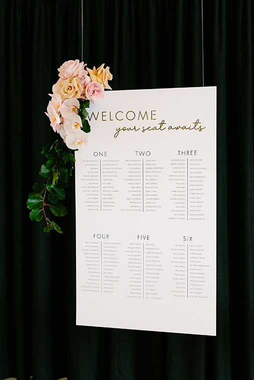 Wedding sign decorated with flowers