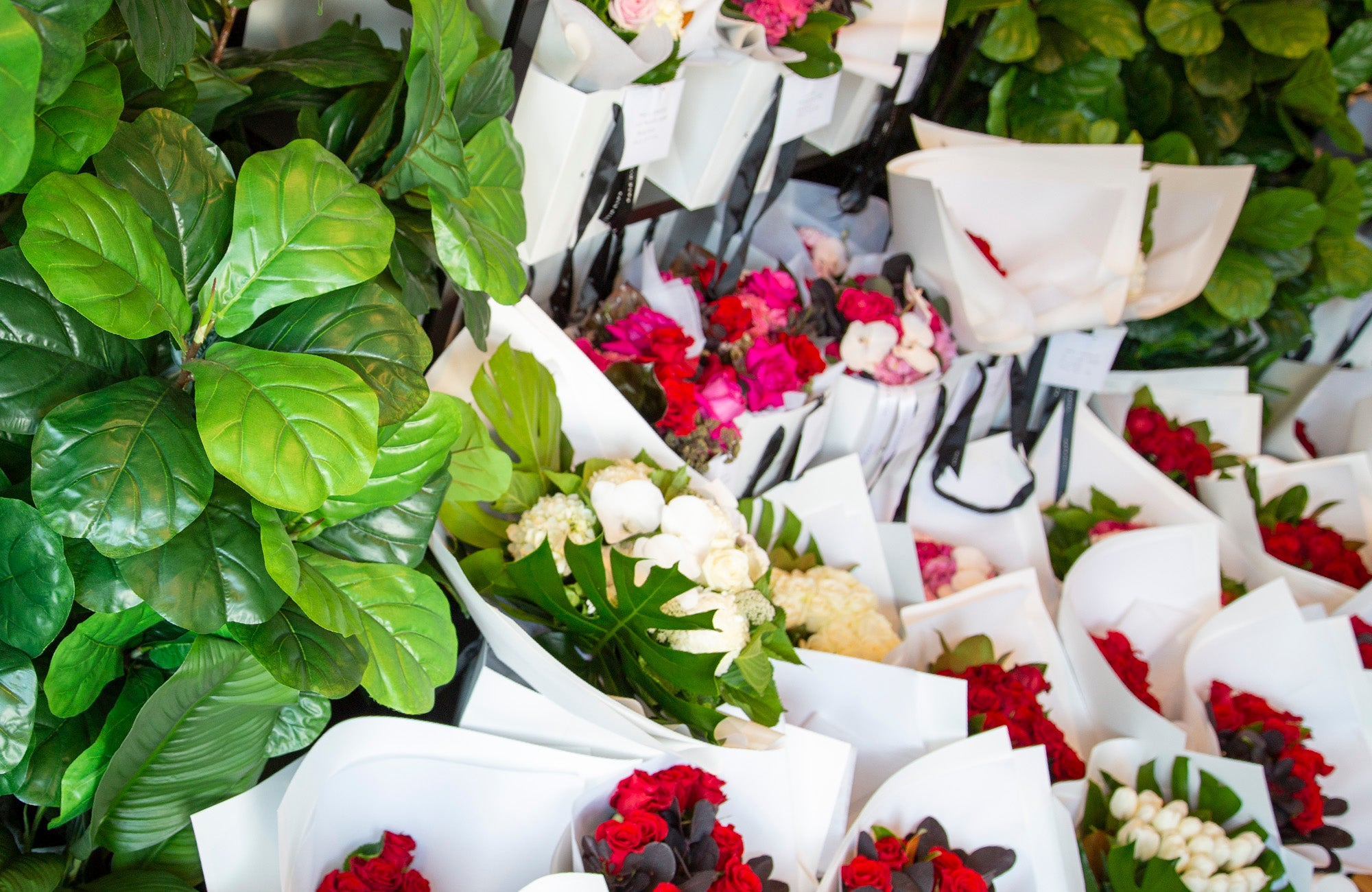 Flower bouquets for sale at South Melbourne florist on shop stand