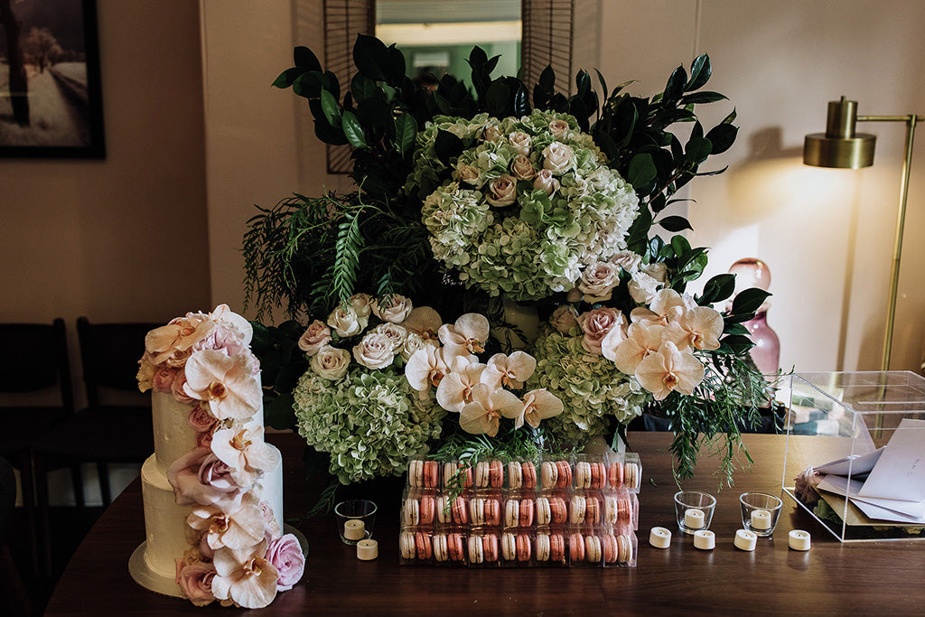 Floral design at wedding venue