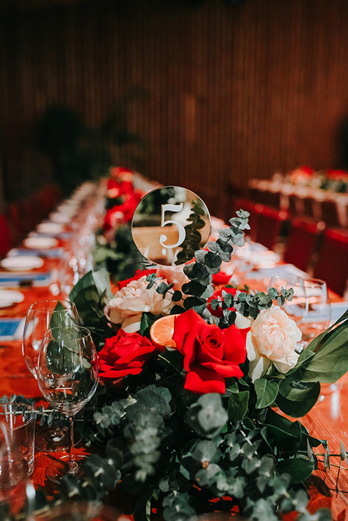 Wedding Table Flowers in Red