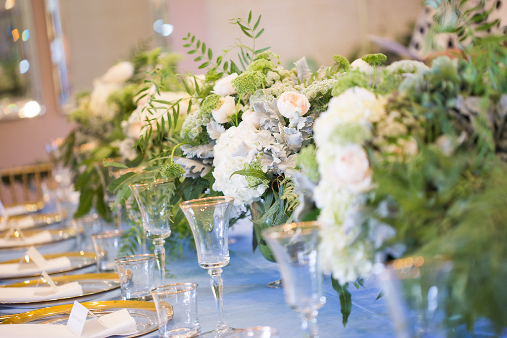 Bridal table wedding flowers