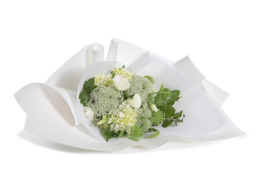 White and green designer bouquet for Mother's Day delivery