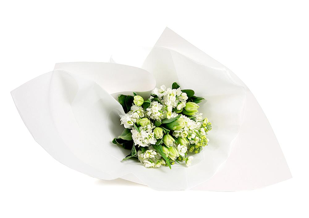 White Stock and Tulip Post gift wrapped in white paper for Mother's Day flower delivery