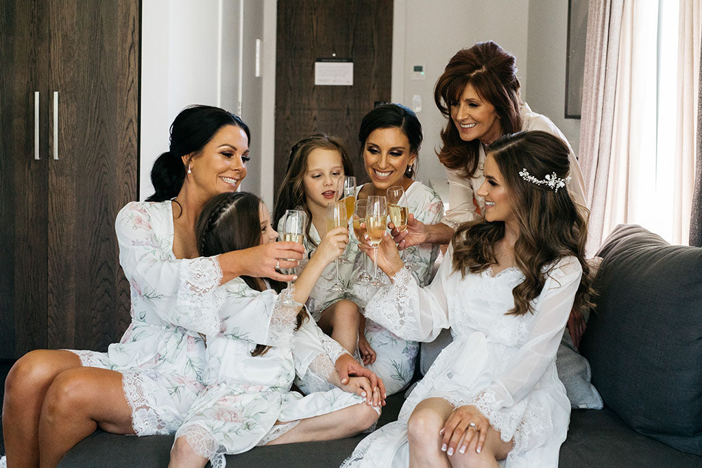 Bride and bridesmaids at wedding