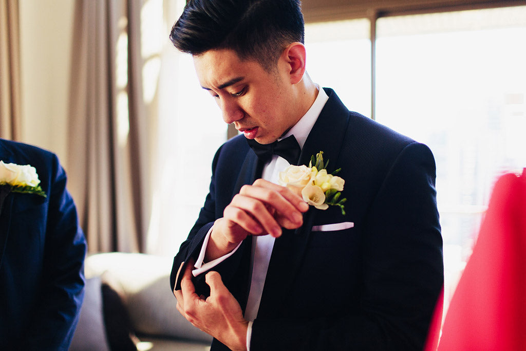 Groom with Wedding Flowers